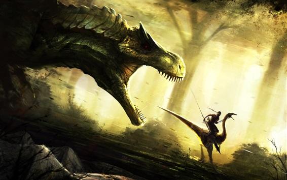 Papéis de Parede Imagem de arte, dinossauro, ataque