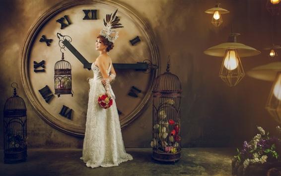 Wallpaper Asian girl, bride, clock, flowers