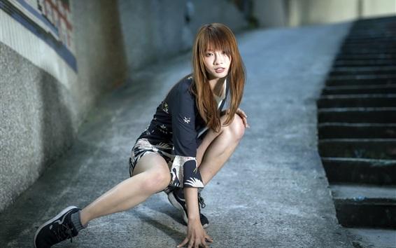 Wallpaper Asian girl, pose, street