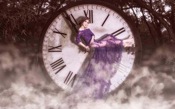 Wallpaper Asian girl, purple skirt, lace, big clock, fog, art photography