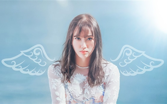 Wallpaper Asian girl, white lace clothes, wings