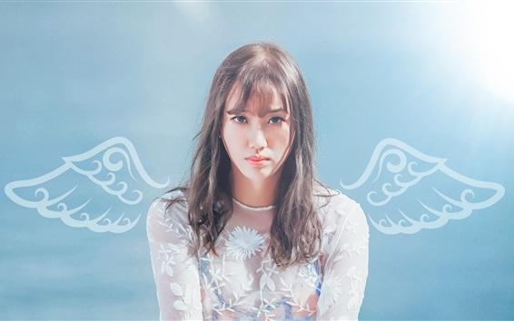 Обои Азиатская девушка, белая кружевная одежда, крылья