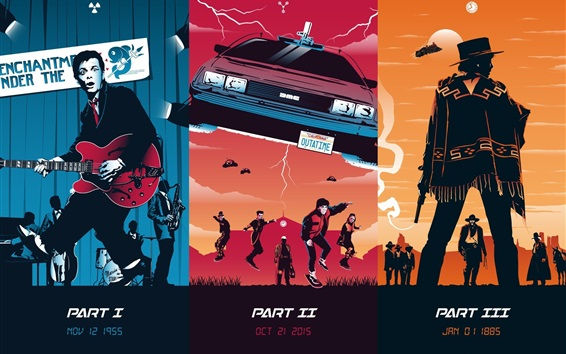 Wallpaper Back to the Future, trilogy, art picture