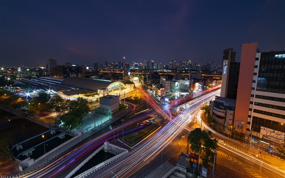 Wallpaper Bangkok, Thailand, city night, roads, street, light lines