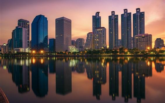 Fond d'écran Bangkok, Thaïlande, gratte-ciels, lumières, crépuscule, rivière, réflexion de l'eau