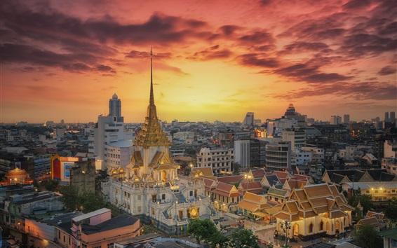 Wallpaper Bangkok, Thailand, temple, night, city, lights