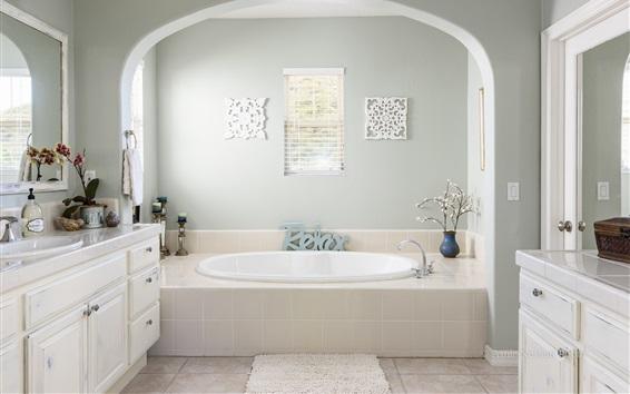 Wallpaper Bathroom, white style