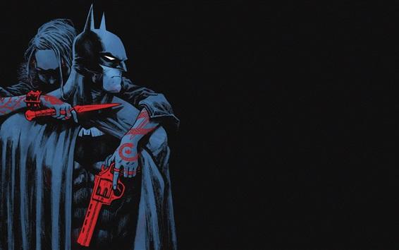 Papéis de Parede Batman, capa, arma, faca, inimigo, quadrinhos