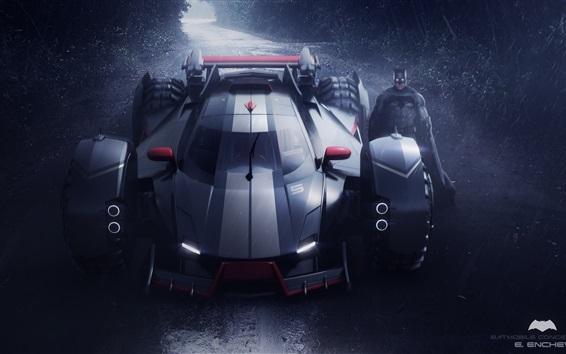 Papéis de Parede Batmobile conceito, noite, batman, chuva
