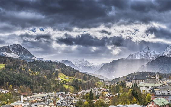 Fond d'écran Bayern, Allemagne, montagnes, ville, Alpes