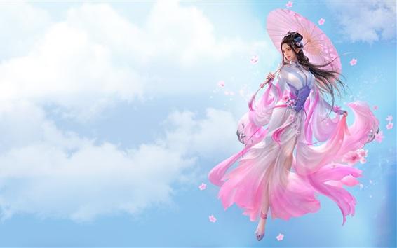 壁紙 美しい中国の女の子、ファンタジー、ピンクスカート、レトロスタイル、傘