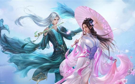 Fond d'écran Belle fille et garçon, amoureux, style rétro chinois