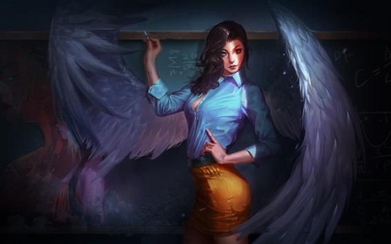Обои Красивая девушка, ангел, учитель, крылья, фантазия