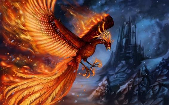 Wallpaper Beautiful phoenix, wings, tail, art picture