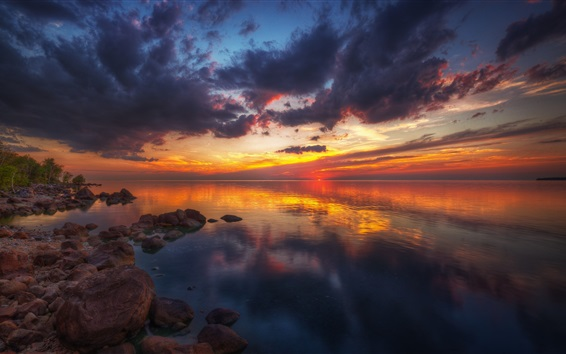 Wallpaper Beautiful sunset, nature landscape, lake, stones, clouds, red sky