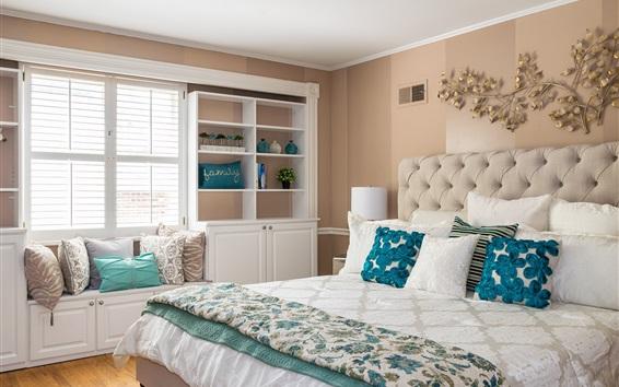 Wallpaper Bedroom, bed, pillow, window