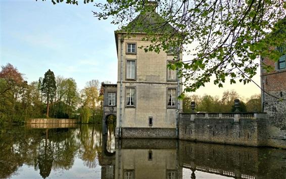 Fond d'écran Belgique, Nivelles, architecture médiévale, château, rivière