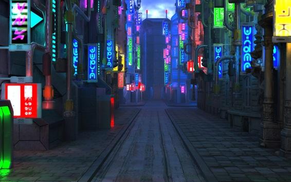 壁紙 ブレードランナー49 将来の都市 通り 夜間 ライト 19x1080 Full Hd 2k 無料のデスクトップの背景 画像