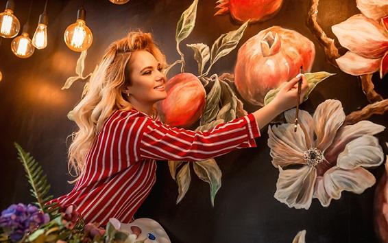Wallpaper Blonde girl, painting, artist