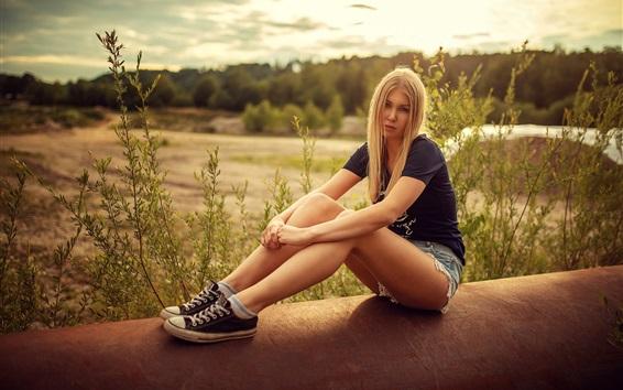Wallpaper Blonde girl, shorts, summer