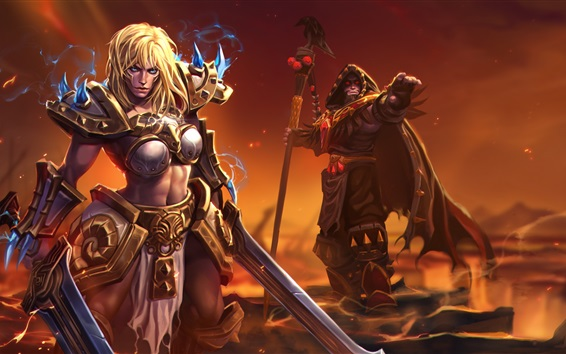 Fondos de pantalla Chica rubia, guerrera, World of Warcraft