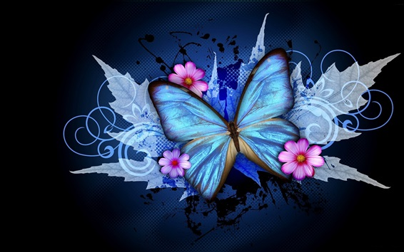 Wallpaper Blue Butterfly And Pink Flowers Creative Design