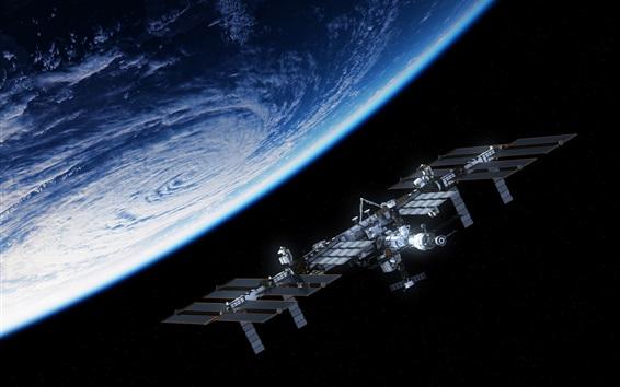Wallpaper Blue planet, satellite, space station