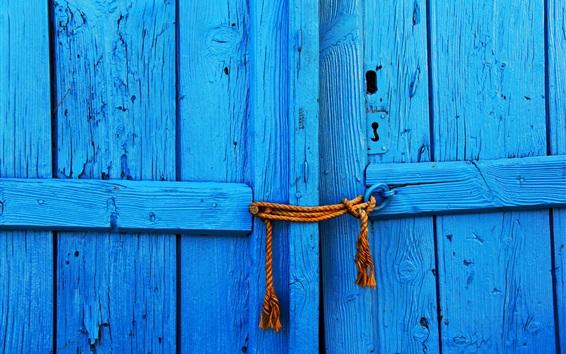 Fond d'écran Porte en bois bleue, corde