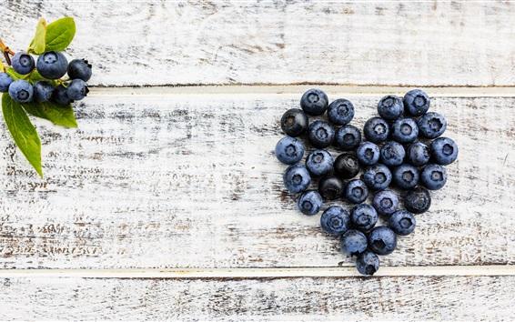 Wallpaper Blueberries love heart, wood board