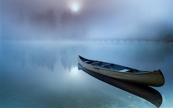Wallpaper Boat, lake, haze, morning