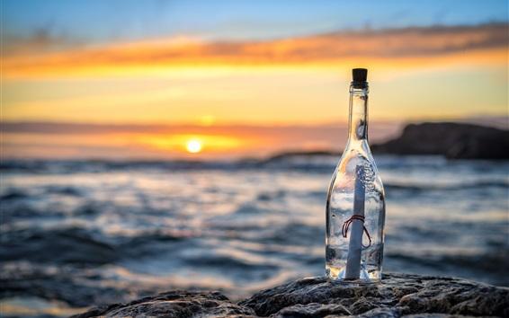 Wallpaper Bottle, message, letter, sea, sunset