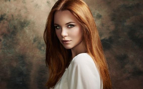 Fondos de pantalla Chica de cabello castaño, mirada, retrato