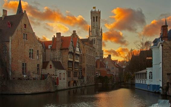 壁紙 ブルージュ、ベルギー、川、住宅、雲、夕暮れ