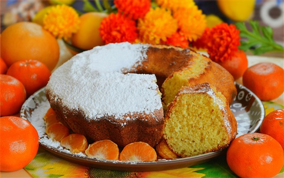Wallpaper Cake and tangerines