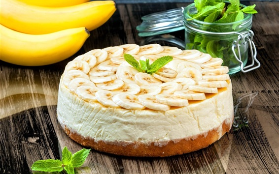Wallpaper Cake, banana slices, mint, delicious food