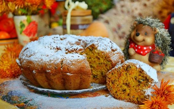 Fond d'écran Gâteau, nourriture, fleurs, jouet hérisson