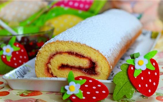 Wallpaper Cake roll, powder, strawberry decoration