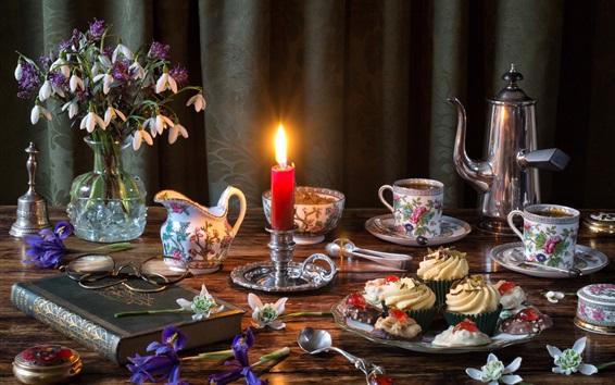 Fondos de pantalla Pasteles, vela, té, libro, flores, comida, cena