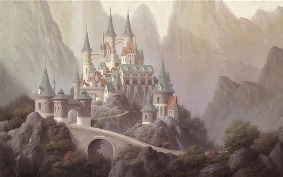 Wallpaper Castle, mountains, art painting