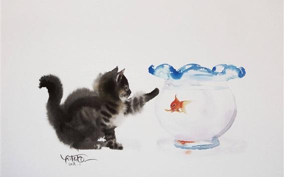 Fondos de pantalla Gato y goldfish, pintura de la acuarela