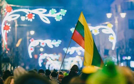 Wallpaper Celebration, Kaunas, Lithuania, flag, people