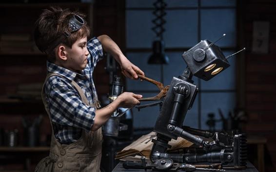 Wallpaper Child boy repair robot