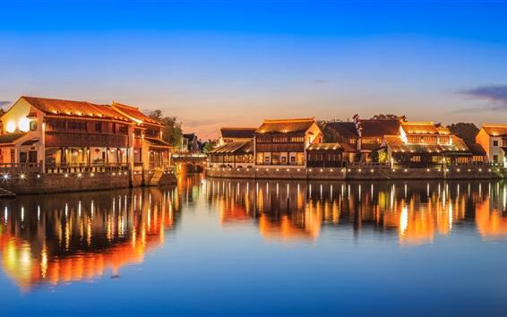 Wallpaper China, village, river, lights, night