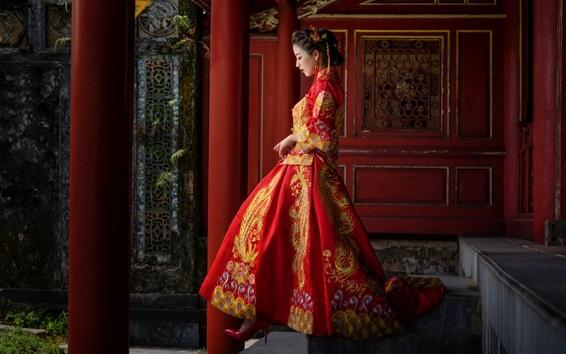 Fond d'écran Fille chinoise, vêtements rouges, style rétro