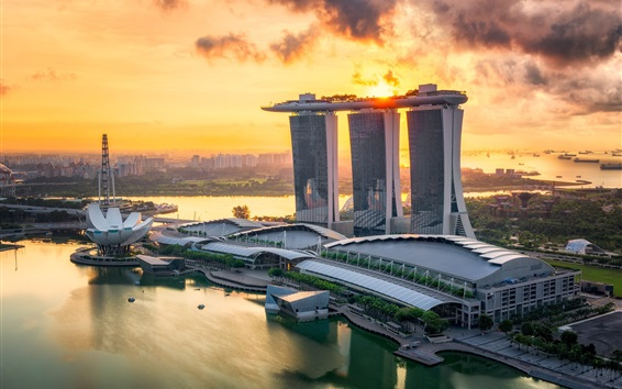 Papéis de Parede Cidade, cingapura, mar, edifícios, pôr do sol