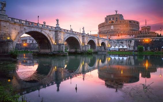 Wallpaper City, bridge, river, buildings