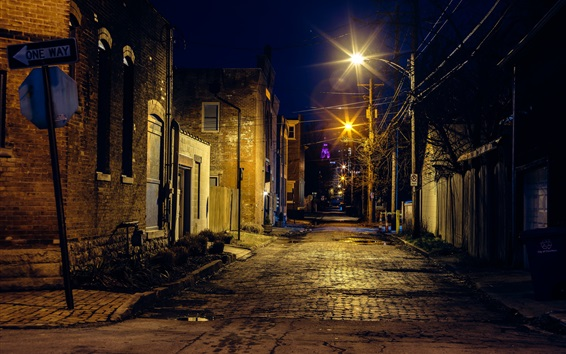 Wallpaper City, night, street, lights