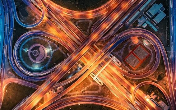 Fondos de pantalla Ciudad, carretera, puente, iluminación, vista superior