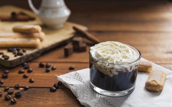 Обои Кофе в зернах, шоколад, сливки, печенье