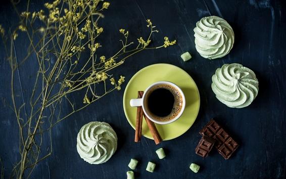Fond d'écran Café, gâteaux, fleurs, chocolat
